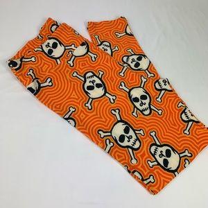 NWOT LULAROE orange Halloween skull leggings